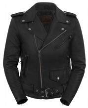 True Element Womens Classic Belted Motorcycle Leather Jacket (Black, Sizes XS-3XL)
