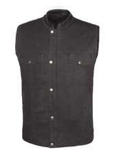 True Element Mens Club Style Denim Vest with Concealed Carry Pockets (Black, Size S-5XL)
