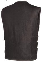 True Element Mens Black Denim SWAT style Vest with Adjustable Side Straps (Size S-5XL)