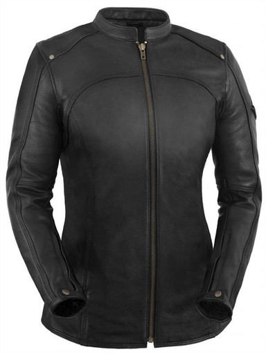 True Element Womens Longer Length Scooter Collar Leather -7667
