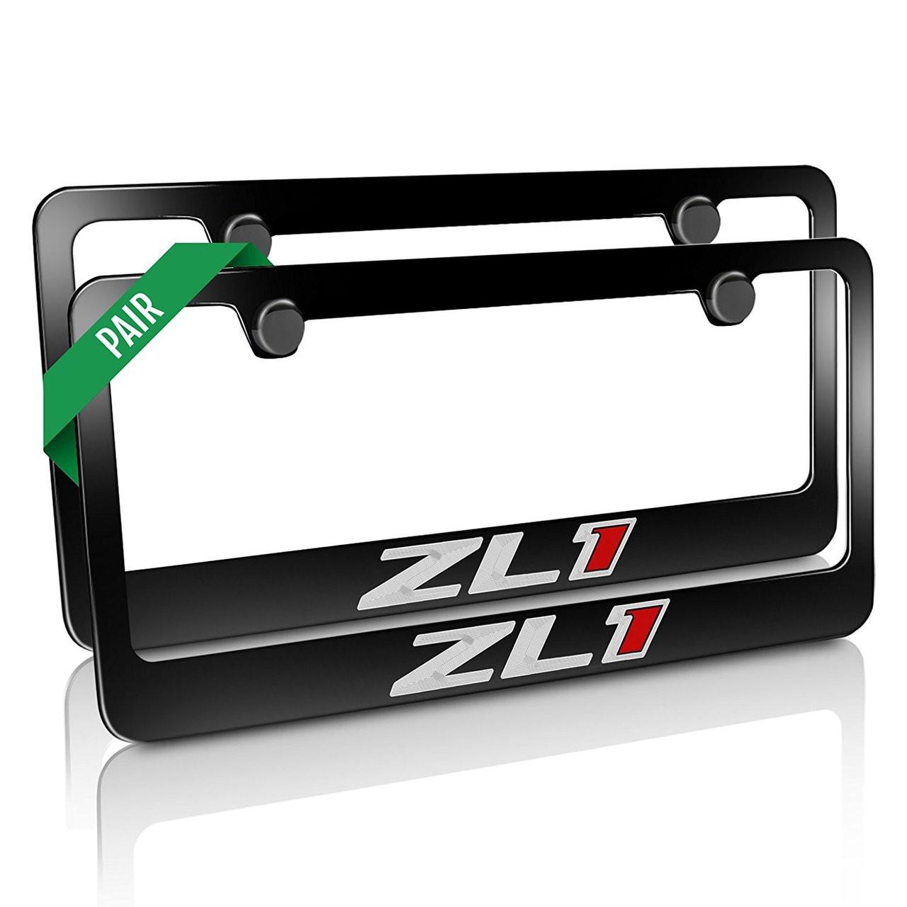 2 Chevrolet Camaro ZL1Black Metal Engraved License Plate Frames ...