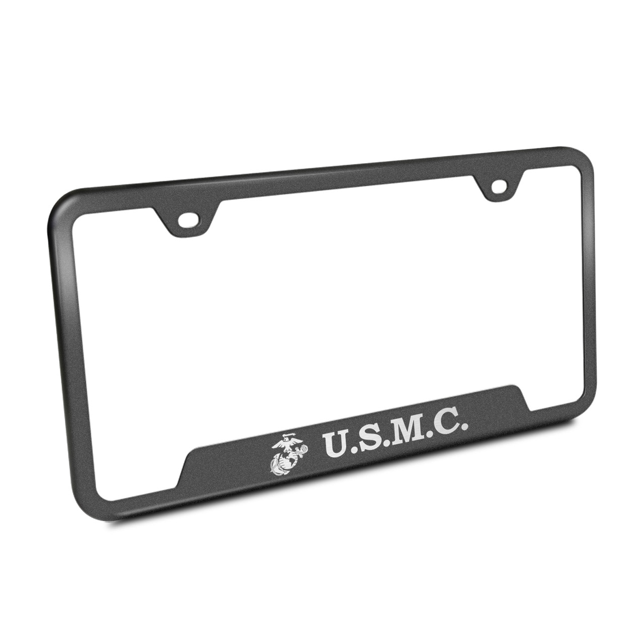 U.S. Marine Corps Rugged Finish Black Stainless Steel License Plate ...