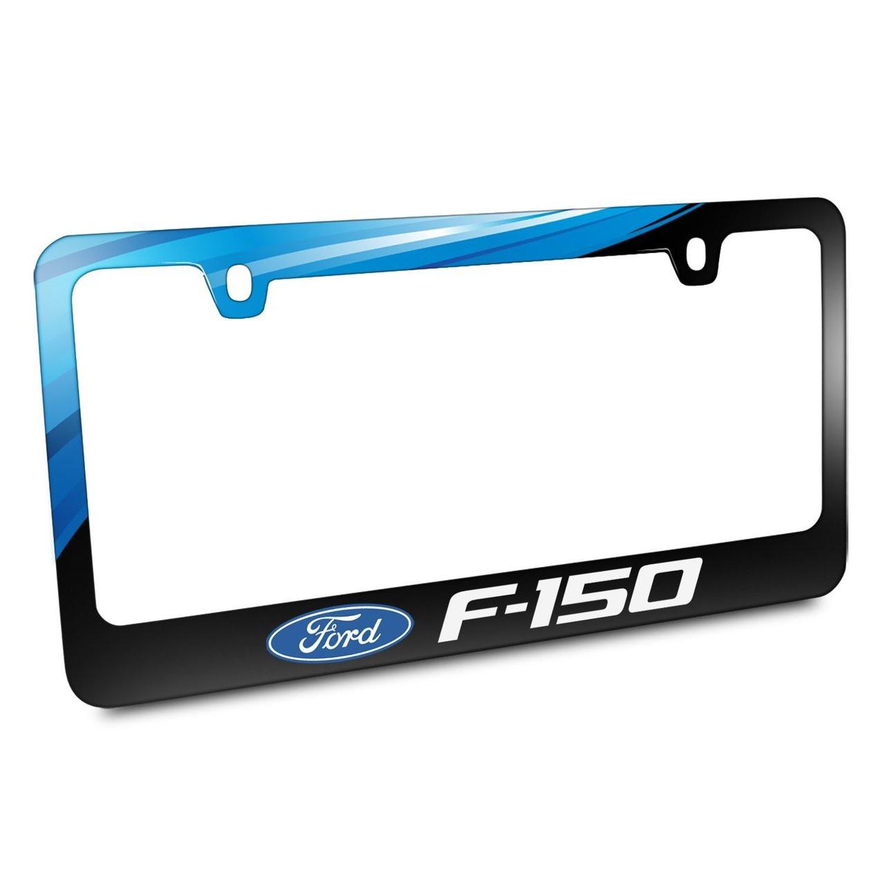 Ford Logo F-150 Black Metal Graphic License Plate Frame - Car Beyond ...