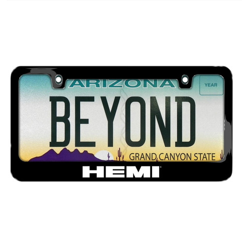 392 HEMI Black Metal License Plate Frame For Challenger, Charger, RT, RAM,