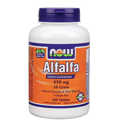 NOW Alfalfa 650mg 10 Grain 250 Tablets