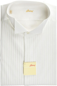 Brioni Formal Tuxedo Dress Shirt Superfine Cotton 16 1/2 42 White