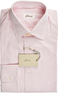Brioni Dress Shirt Superfine Cotton 15 3/4 40 Pink