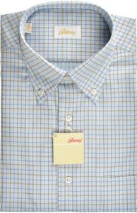 Brioni Dress Shirt Short Sleeve Fine Cotton 15 3/4 40 Blue Brown