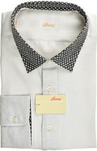 Brioni Dress Shirt Superfine Linen XXLarge VI White Black