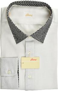 Brioni Dress Shirt Superfine Linen XXLarge VI White Black 03SH0527