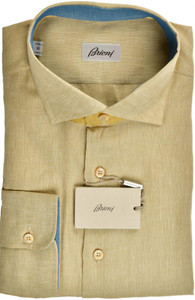 Brioni Dress Shirt Superfine Linen XLarge V Brown 03SH0526
