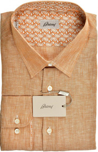 Brioni Dress Shirt Superfine Linen XXLarge VI Brown-Orange 03SH0525