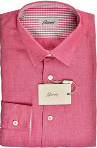 Brioni Dress Shirt Superfine Linen Small II Pink