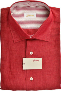 Brioni Dress Shirt Short Sleeve Superfine Linen Large IV Red 03SH0522