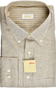 Brioni Dress Shirt Superfine Linen XXLarge VI Brown