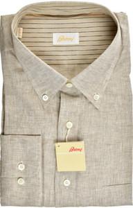 Brioni Dress Shirt Superfine Linen XXLarge VI Brown 03SH0521