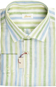Brioni Dress Shirt Superfine Linen XXLarge VI Green Blue
