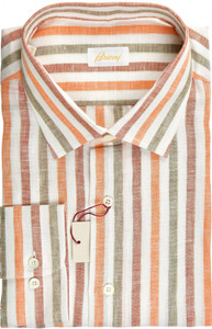 Brioni Dress Shirt Superfine Linen XXLarge VI Orange Red
