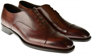Brioni Dress Shoes Cap Toe Leather 8 US 7 UK Brown 03SO0127