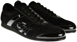 Brioni Dress Shoes Logo Sneakers Leather 9 US 42 EU Black