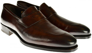 Brioni Dress Shoes Leather Loafers 8.5 US 41.5 EU Brown 03SO0142