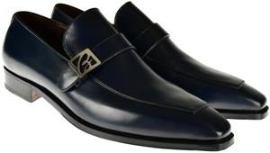 Brioni Dress Shoes Leather Loafers B Logo 10.5 US 9.5 UK Blue