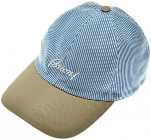 Brioni Baseball Cap Hat Cotton W/ Logo Blue Stripe 03CP0133