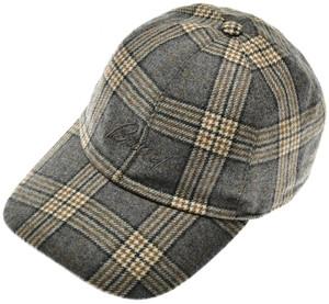 Brioni Baseball Cap Hat Wool W/ Logo Gray Plaid