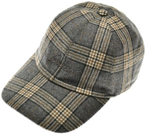 Brioni Baseball Cap Hat Wool W/ Logo Gray Plaid 03CP0132
