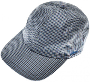 Brioni Baseball Cap Hat Silk W/ Logo Blue Check 03CP0130