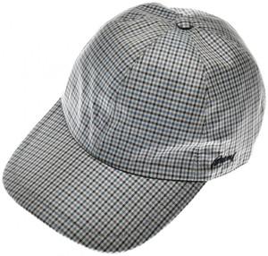 Brioni Baseball Cap Hat Silk W/ Logo Blue Purple Check