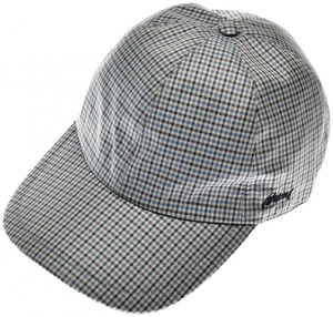 Brioni Baseball Cap Hat Silk W/ Logo Blue Purple Check 03CP0129