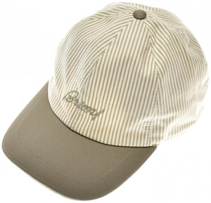 Brioni Baseball Cap Hat Cotton Linen W/ Logo Green Stripe 03CP0128