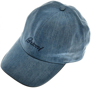Brioni Baseball Cap Hat Cotton Denim W/ Logo Blue 03CP0127