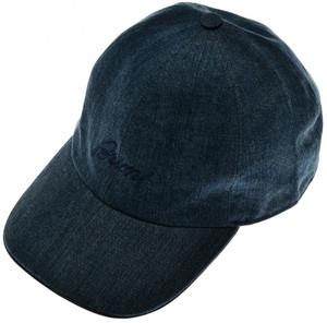 Brioni Baseball Cap Hat Cotton Denim W/ Logo Dark Blue