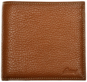 Brioni Wallet Bifold 8 Card Pebble Grain Leather Brown 03WA0142