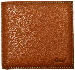 Brioni Wallet Bifold 8 Card Pebble Grain Leather Brown 03WA0137