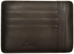 Brioni Wallet Card Case W/ Zip Pocket Leather Dark Brown 03WA0148