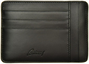 Brioni Wallet Card Case W/ Zip Pocket Leather Black 03WA0147