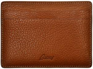 Brioni Wallet Bifold 5 Card Case Pebble Grain Leather Brown