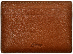 Brioni Wallet Bifold 5 Card Case Pebble Grain Leather Brown 03WA0155