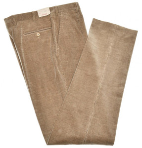 Brioni Pants 'Merano' Cotton Cashmere Corduroy Size 38 Brown