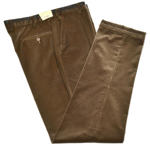 Brioni Pants 'Lavaredo' Cotton Velvet Size 34 Brown 03PT0185