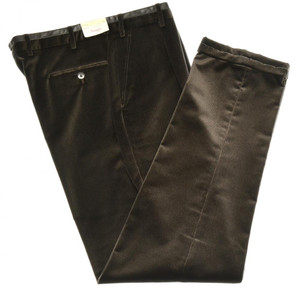 Brioni Pants 'Lavaredo' Cotton Velvet Size 28 Brown