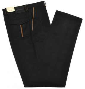 Brioni Pants 'Tirolo' Brushed Cotton Size 30 Blue
