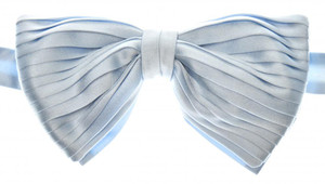 Brioni Bow Tie Pleated Silk Light Blue