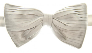 Brioni Bow Tie Pleated Silk Silver