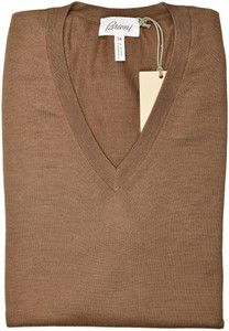Brioni Sweater V-Neck Vest Cashmere Silk Size XXLarge Brown