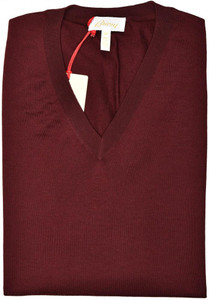 Brioni Sweater V-Neck Vest Wool Size XXLarge Burgundy