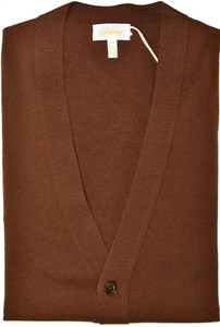 Brioni Sweater Cardigan Wool Size XLarge Brown